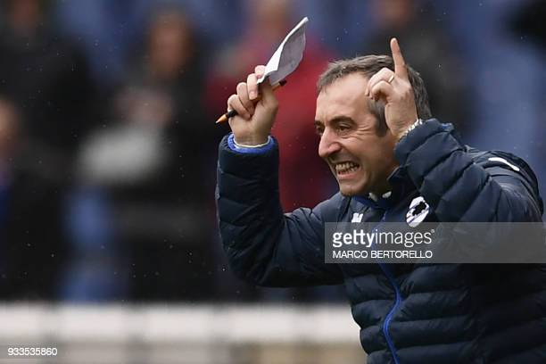 Sampdoria's coach Marco Giampaolo from Italy gestures during the Italian Serie A football match Sampdoria Vs Inter Milan on March 18 2018 at the...
