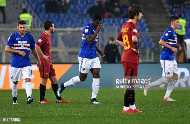Sampdoria's Colombian forward Duvan Zapata celebrates after scoring a goal during the Italian Serie A football match Roma vs Sampdoria on January 28...