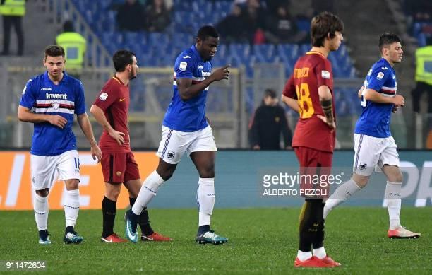 Sampdoria's Colombian forward Duvan Zapata celebrates after scoring a goal during the Italian Serie A football match Roma vs Sampdoria on January 28...