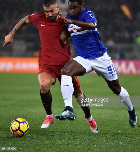 Sampdoria's Colombian forward Duvan Zapata fights for the ball with Roma's defender from Serbia Aleksandar Kolarov during the Italian Serie A...