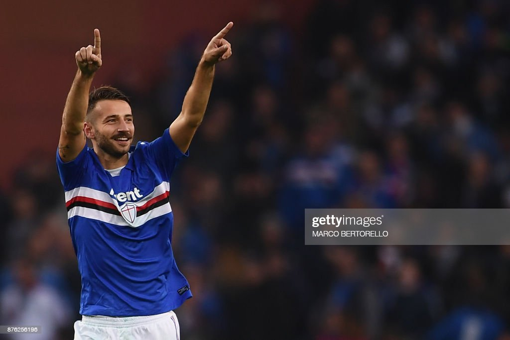 Sampdoria's defender Gian Marco Ferrari from Italy celebrates after scoring during the Italian Serie A football match Sampdoria Vs Juventus on November 19, 2017 at the 'Luigi Ferraris' Stadium in Genoa. /