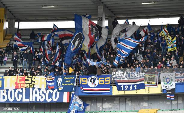 Sampdoria's fans during the serie A match between AC Chievo Verona and UC Sampdoria at Stadio Marc'Antonio Bentegodi on March 31 2018 in Verona Italy