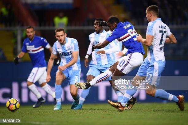 Sampdoria's forward Duvan Zapata from Colombia kicks and scores during the Italian Serie A football match Sampdoria Vs Lazio on December 3 2017 at...
