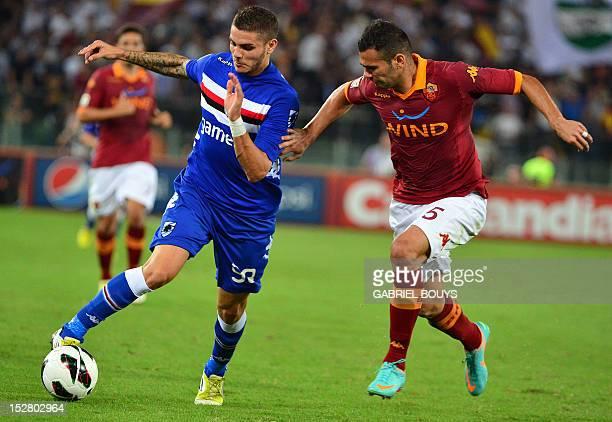 Sampdoria's forward Mauro Icardi of Argentina controls the ball ast AS Roma's Brazilian defender Leandro Castan during the Italian Serie A football...