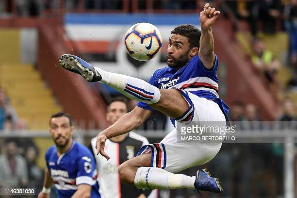 Sampdoria's French forward Gregoire Defrel kicks the ball during the Italian Serie A football match Sampdoria vs Juventus Turin on May 26 2019 at the...