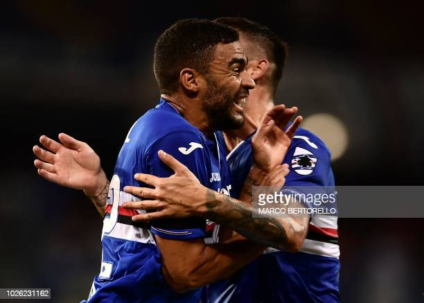 Sampdoria's French forward Gregoire Defrel reacts after scoring during the Italian Serie A football match Sampdoria vs Napoli on September 2 2018 at...