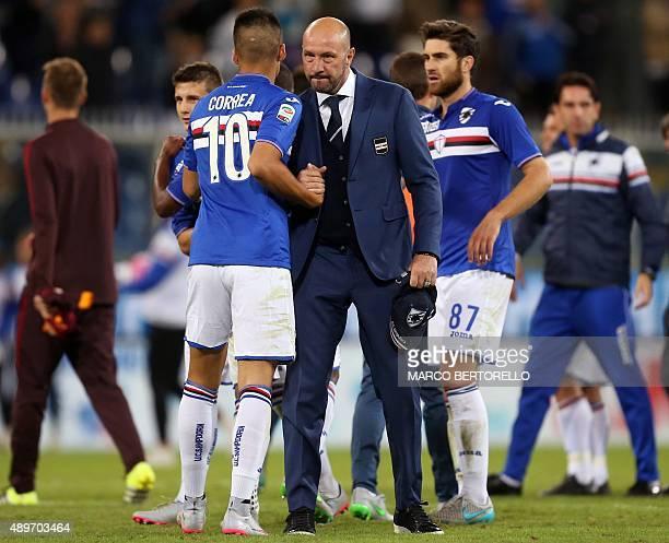 Sampdoria's head coach Walter Zenga celebrates with Sampdoria's midfielder Joaquin Correa from Argentina at the end of the Italian Serie A football...