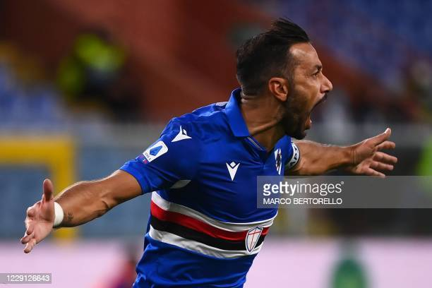 Sampdoria's Italian forward Fabio Quagliarella celebrates after scoring a goal during the Italian Serie A football match between Sampdoria and Lazio...
