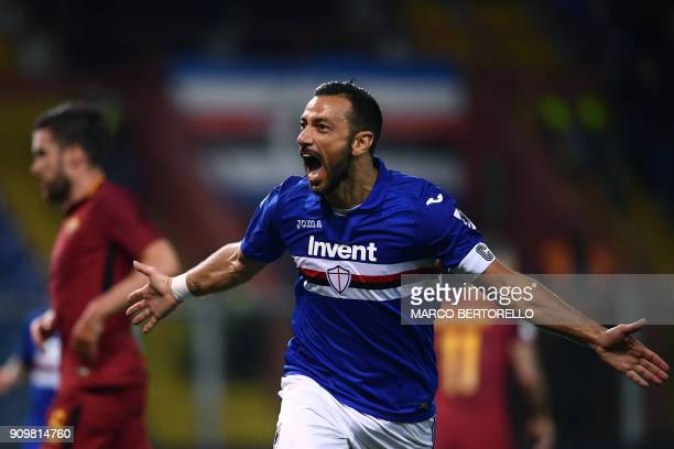 Sampdoria's Italian forward Fabio Quagliarella celebrates after scoring a goal during the Italian Serie A football match between Sampdoria and AS...