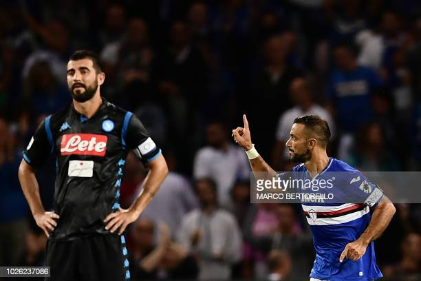 Sampdoria's Italian forward Fabio Quagliarella celebrates after scoring during the Italian Serie A football match Sampdoria vs Napoli on September 2...