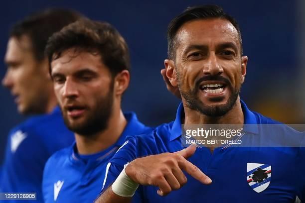 Sampdoria's Italian forward Fabio Quagliarella celebrates with teammates after scoring a goal during the Italian Serie A football match between...