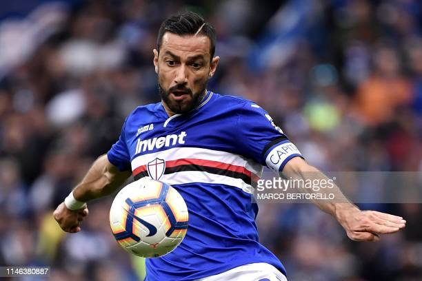 Sampdoria's Italian forward Fabio Quagliarella looks at the ball during the Italian Serie A football match Sampdoria vs Juventus Turin on May 26 2019...