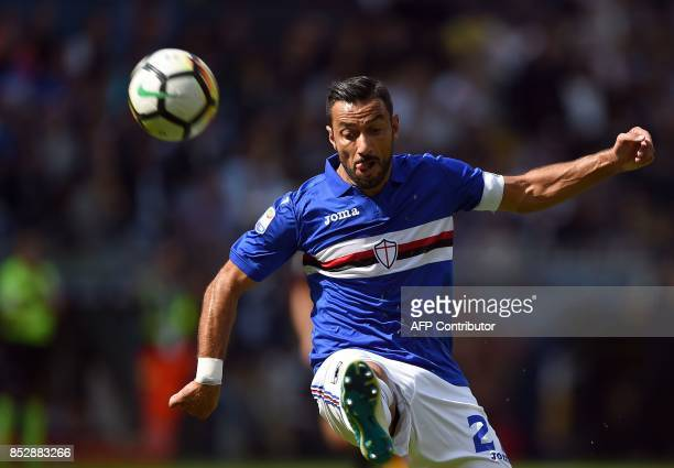 Sampdoria's Italian forward Fabio Quagliarella plays the ball during the Italian Serie A football match between Sampdoria vs AC Milan at the Luigi...