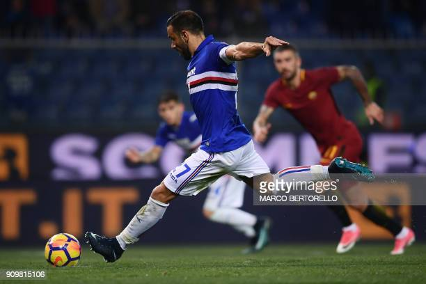 Sampdoria's Italian forward Fabio Quagliarella shoots and scores a penalty kick during the Italian Serie A football match between Sampdoria and AS...