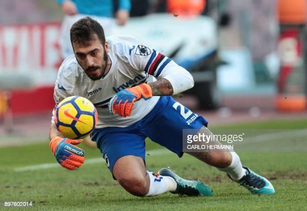Sampdoria's Italian goalkeeper Emiliano Viviano dives for the ball during the Italian Serie A football match SSC Napoli vs UC Sampdoria on December...