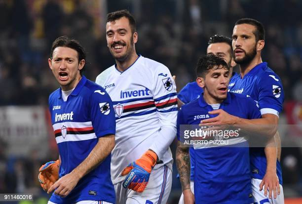 Sampdoria's Italian goalkeeper Emiliano Viviano reacts after saving a penalty kick during the Italian Serie A football match Roma vs Sampdoria on...