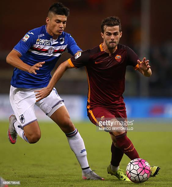 Sampdoria's midfielder Joaquin Correa from Argentina fights for the ball with Roma's midfielder Miralem Pjanic from BosniaHerzegovinaduring the...