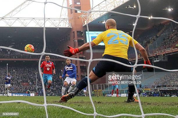 Sampdoria's midfielder Joaquin Correa from Argentina scores during the Italian Serie A football match Sampdoria Vs Napoli on January 24 2016 at...