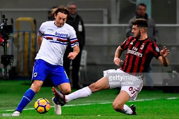 Sampdoria's Paraguayan midfielder Edgar Osvaldo Barreto vies with AC Milan's Italian forward Patrick Cutrone during the Italian Serie A football...