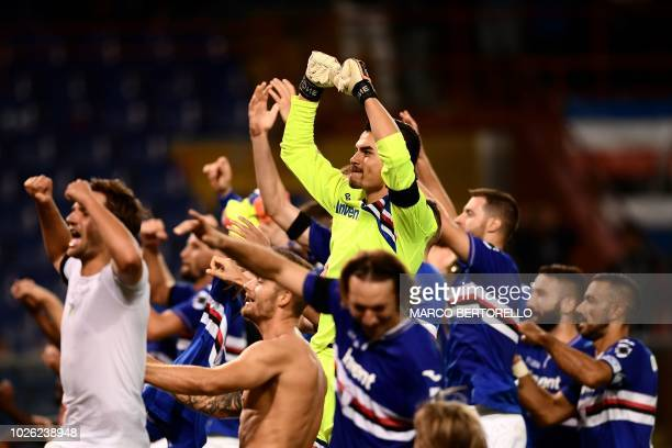 Sampdoria's players celebrate at the end of the Italian Serie A football match Sampdoria vs Napoli on September 2 2018 at the 'Luigi Ferraris...