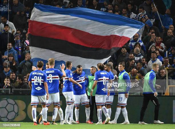 Sampdoria's players celebrates during the Serie A match between UC Sampdoria and SPAL at Stadio Luigi Ferraris on October 1 2018 in Genoa Italy