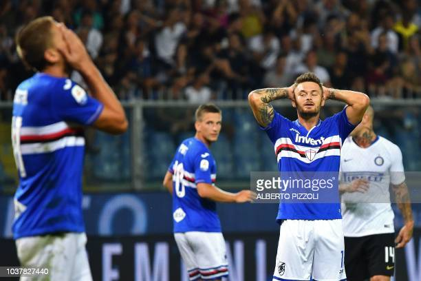 Sampdoria's Polish midfielder Karol Linetty reacts during the Italian Serie A football match Sampdoria vs Inter Milan at the Luigi Ferraris stadium...