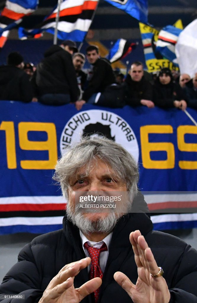 Sampdoria's president Massimo Ferrero gestures before the Italian Serie A football match Roma vs Sampdoria on January 28, 2018 at Olympic stadium in Rome. /