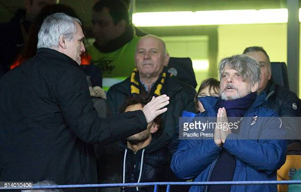 Sampdoria's president Massimo Ferrero gestures during the Italian Serie A football match between Hellas Verona FC v UC Sampdoria The Italian Serie A...