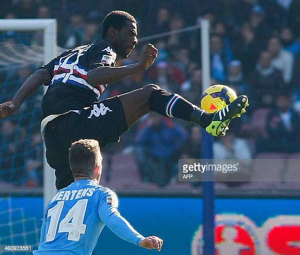 Sampdoria's Spanish midfielder Pedro Obiang fights for the ball with Napoli's Belgian forward Dries Mertens during the Italian Serie A football match...