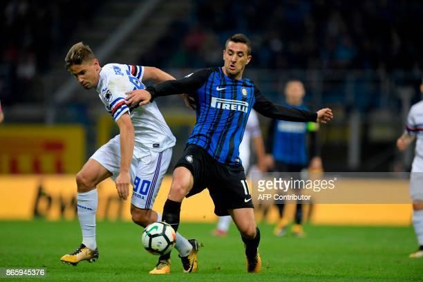 Sampdoria's Uruguayan midfielder Gaston Ramirez vies with Inter Milan's Uruguayan midfielder Matias Vecino during the Italian Serie A football match...