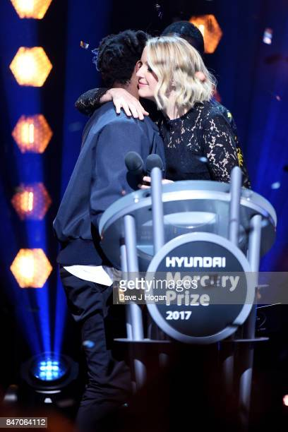 Sampha and Lauren Laverne on stage at the Hyundai Mercury Prize 2017 at Eventim Apollo on September 14 2017 in London England