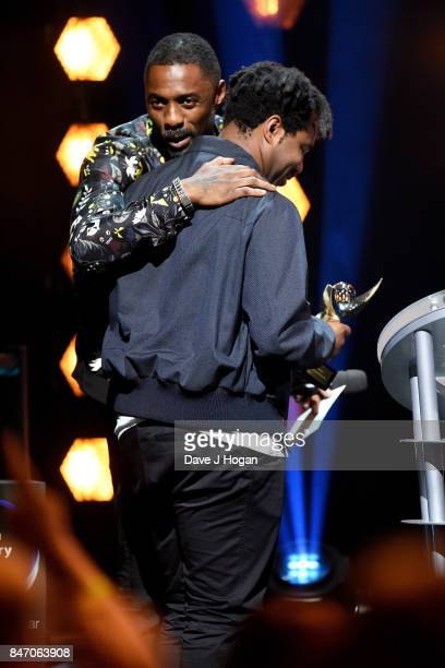 Sampha winner of the Hyundai Mercury Prize 2017 on stage with Idris Elba at Eventim Apollo on September 14 2017 in London England