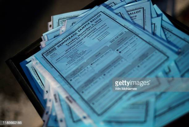 A sample ballot is shown at a polling station is shown at Nottingham Elementary School November 5 2019 in Arlington Virginia All 140 seats in the...
