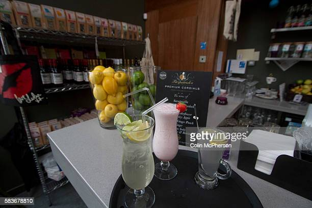 Sample drinks on display in The Brink, a non-alcohol bar and restaurant in Parr Street, Liverpool. The charity-run establishment was opened at the...