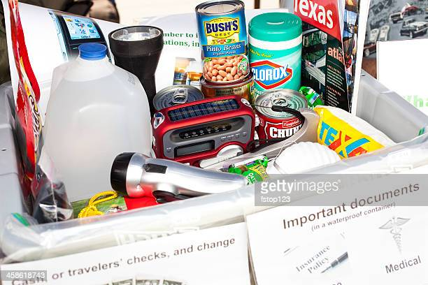 sample of emergency prepardness items - disaster relief stock photos and pictures