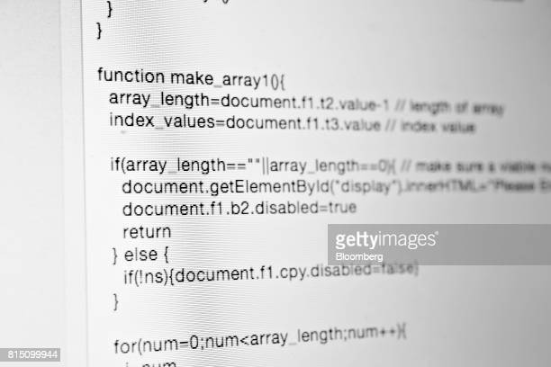 A sample of JavaScript computer code is displayed on a monitor for a photograph in Tiskilwa Illinois US on Wednesday July 12 2017 JavaScript often...