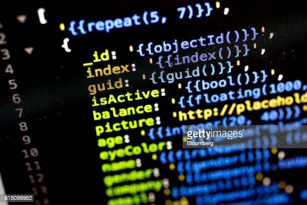 A sample of JSON computer code is displayed on a monitor for a photograph in Tiskilwa Illinois US on Wednesday July 12 2017 JSON is a lightweight...