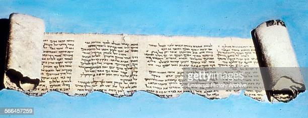 Sample of the Dead Sea Scrolls a collection of texts discovered in the West Bank Written in Hebrew Aramaic Greek and Nabatean Dated 408 BC