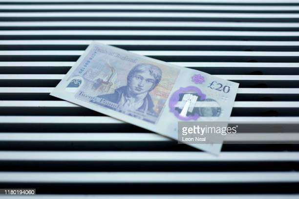 A sample of the new twenty pound note is seen during the launch event for the new note design at the Turner Contemporary gallery on October 10 2019...