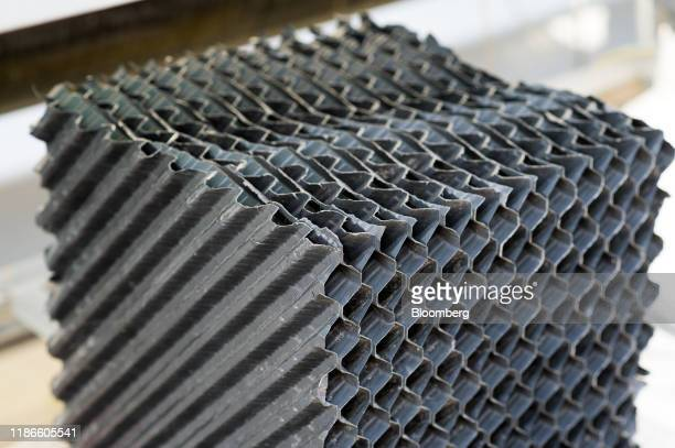 A sample of the plastic membrane part of the direct air capture system is seen at the Carbon Engineering Ltd pilot facility in Squamish British...