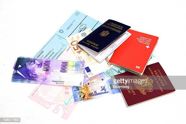 Sample products produced on security paper by Landqart AG including passports from Switzerland Liechtenstein and Bulgaria a Swiss driving document a...