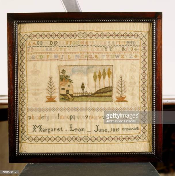 a sampler, one of a collection made by margaret & rebecca lyon (1819) on the upstairs landing at sto - needlecraft stock pictures, royalty-free photos & images