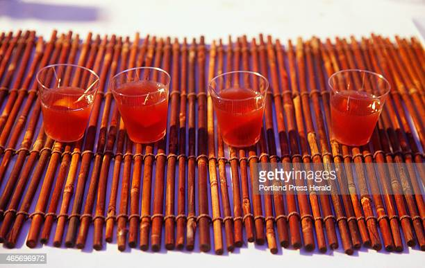Samples of a Winter Madras made with Double Cross vodka Del Maguey Vida mezcal orange juice unsweetened cranberry juice and pomegranate molasses made...