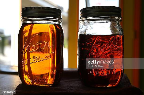 Samples of biodiesel sit in the office at Dogpatch Biofuels on March 22 2013 in San Francisco California According to a report by San Francisco based...