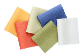 Samples of colored canvas fabric