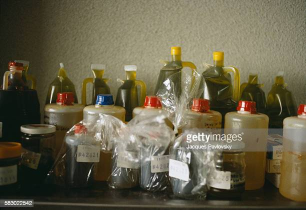Samples of colza oil wait to be tested at the Majadahonda Center in Madrid In the early 1980s over a thousand Spaniards became severly ill or died...