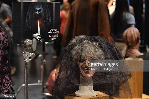 Samples of hair and makeup at Universal Studios' 'Halloween Horror Nights' media makeup kickoff at The Globe Theatre on August 27 2013 in Universal...