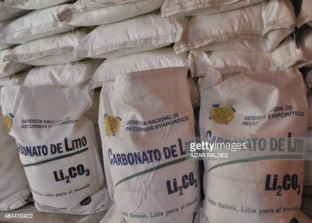 Samples of lithium carbonate extracted from the Uyuni saltpan at the lab of the Llipi pilot plant in Uyuni south from La Paz on August 17 2015 The...