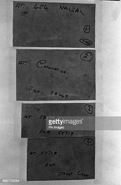 Samples of the Black Panther's handwriting which went on display at a police press conference at Kidsgrove Staffs headquarters of the Lesley Whittle...