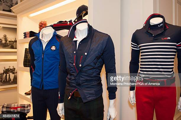 Samples of the Ryder Cup Team USA uniforms during the Ryder Cup Captain's Picks Media Tour at the Ralph Lauren Headquarters on September 02 2014 in...